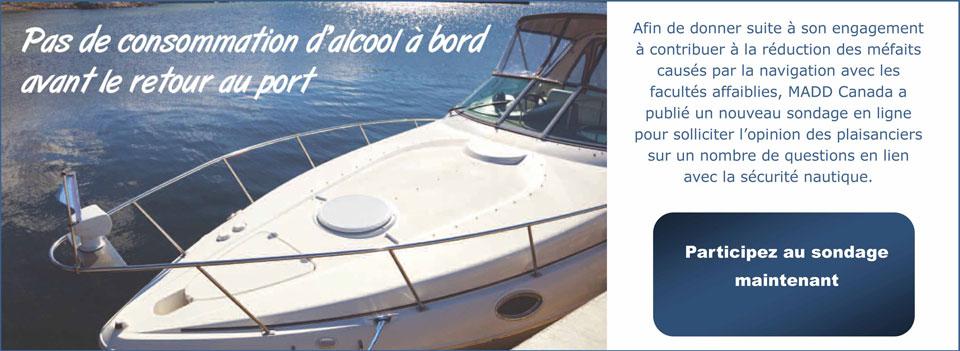 Diapositive pour page d'accueil – Sondage sur la sécurité nautique